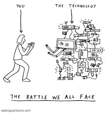 cartoon showing a person fighting a wall of technology