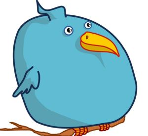 large blue tweet bird omage