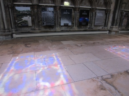 sunlight through the stained glass at the Labyrinth Festival