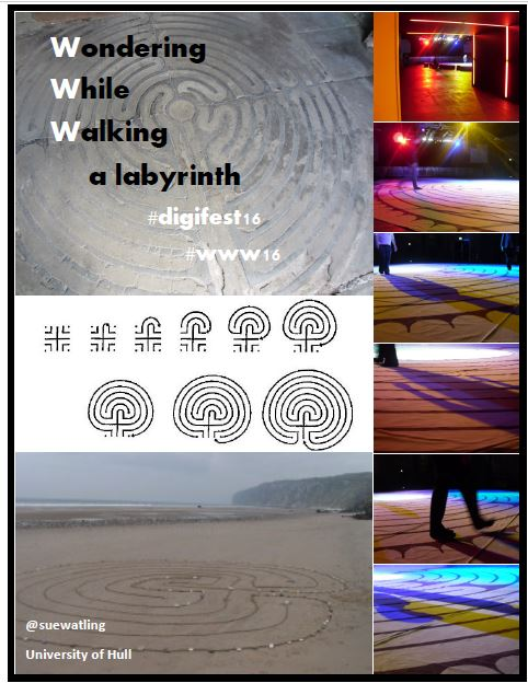 poster about labyrinths for the Wondering While Walking project