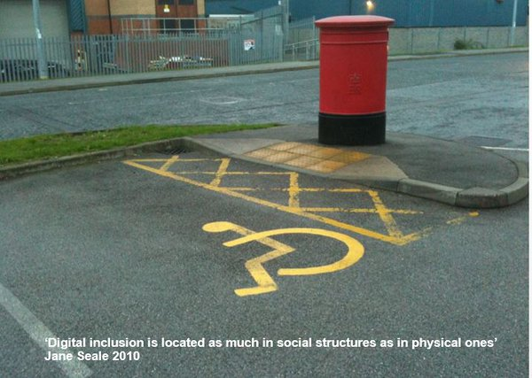 disabled parking road sign next to a postbox