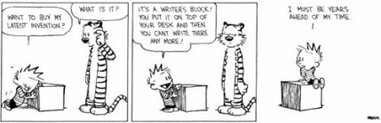 Cartoon strip about writers block