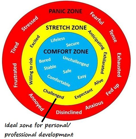 red, yellow and blue rings of Sennnger's Learning Zone Model