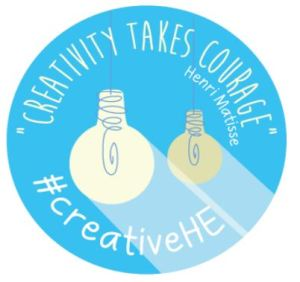 Creativeity takes courage blue badge