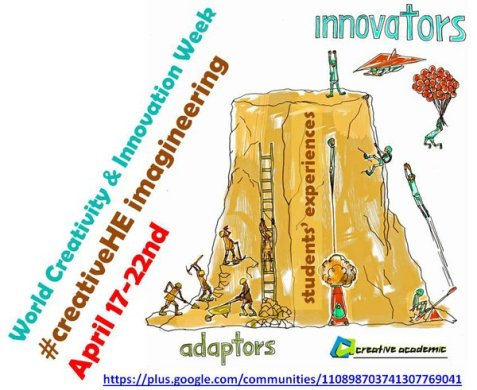 #creativeHE week poster image shows dawing of a mountain with people climbing it