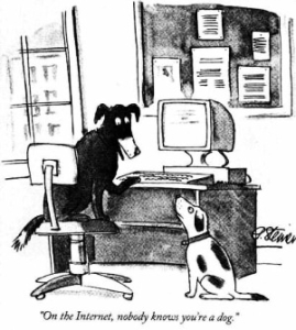 black and white cartoon, one dog tells anthother on the internet no one knows you're a dog