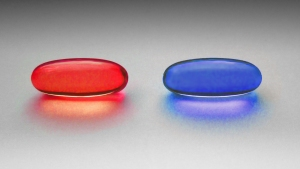 image of a red pill and a blue pill symbolising choice