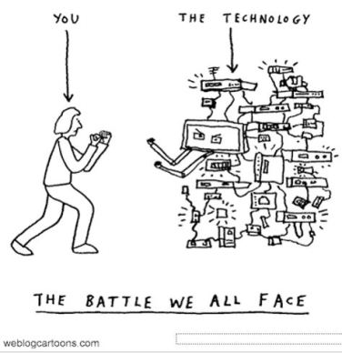 cartoon showing a person battling with a wall of a technology