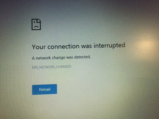 message saying internet connection was interrupted