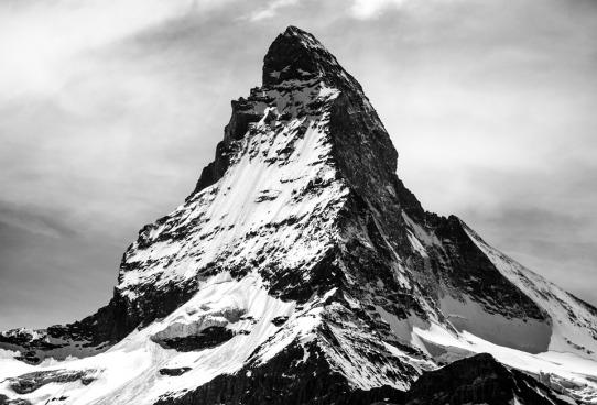 black and white image o the Matterhorm mountain