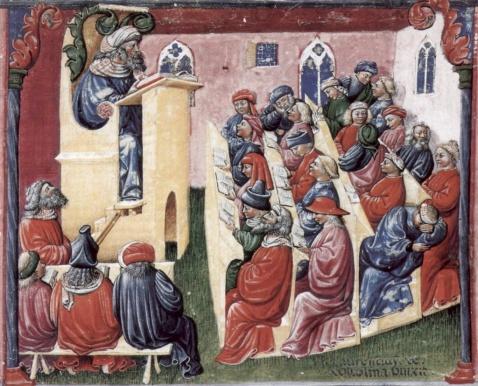 image from https://en.wikipedia.org/wiki/Medieval_university#/media/File:Laurentius_de_Voltolina_001.jpg