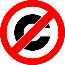 red circle with black C for copyright and a red
