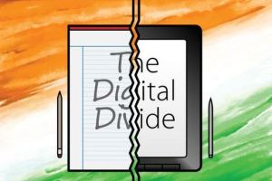 drawing of a digital divide between ipad and paper