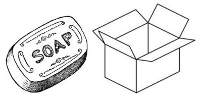 pencil sketch of a bar of soap and a box