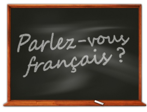 Parlez-vous francais? written in chalk on a blackboard