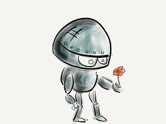 grey robot looking at a red flower