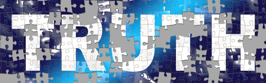 image of the word truth as a jigsaw with missing pieces