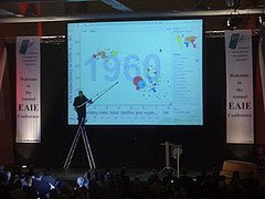Hans Rosling presenting on a stepladder