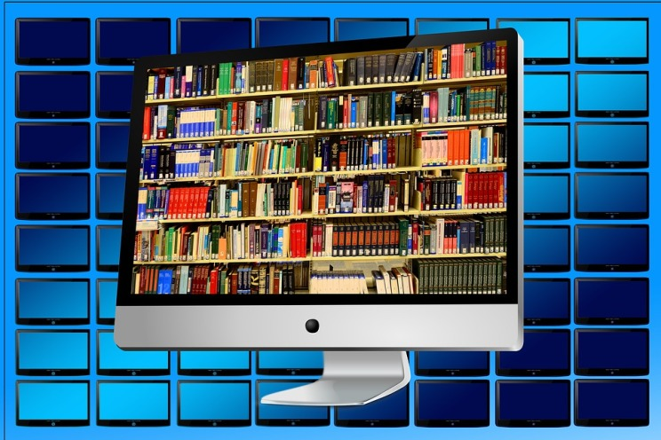computer screen with image of books