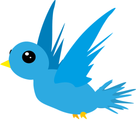 flying blue cartoon bird