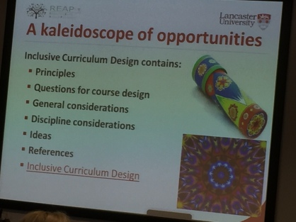 A slide linking inclusive design to a kaleidoscope