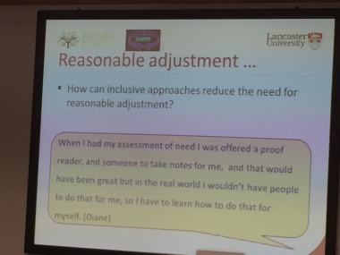 slide showing student comments about reasonable adjustment - contact me for full text version