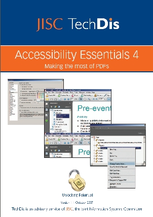 image of the cover of TechDis Accessibility Essential series of guidance for accessible online content