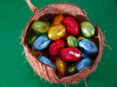 basket of coloured eggs