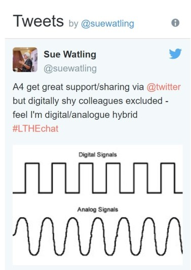 image of tweet saying get great support/sharing via @twitter but digitally shy colleagues excluded - feel I'm digital/analogue hybrid