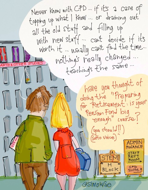 LTHEChat cartoon by Simon Rae, two people discussing CPD