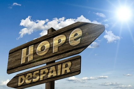 signpost showing Hope and Dispair