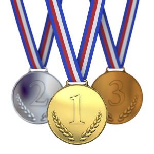 three medals bronze, silver and gold