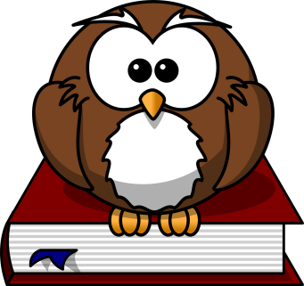 cartoon image of an owl sitting on a book