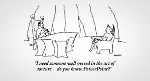cartoon showing the devil relating torture to powerpoint