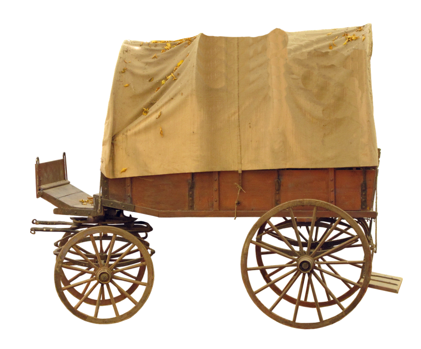 american west covered wagon with large wheels