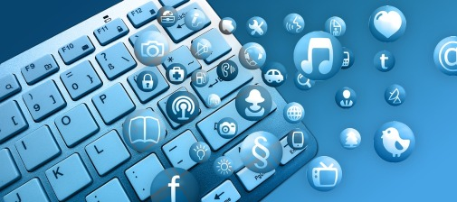 image of keyboard and social media icons from pixabay