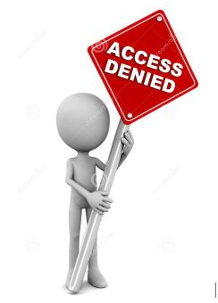 cartoon figure holding a sign saying access denied