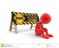 access denied sign with red figure sat looking downcast