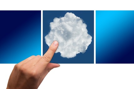 inger pointing at a white cloud on a blue background