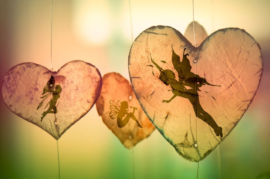 fairy shadows in transparent brown hearts
