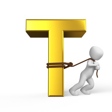 cartoon person pulling a yellow letter T