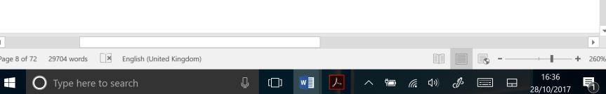 Image showing the task bar enlarged with missing icons