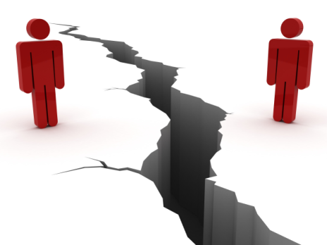 image showinf two cartoon people on either side of a chasm