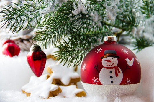 christmas baubles and tree