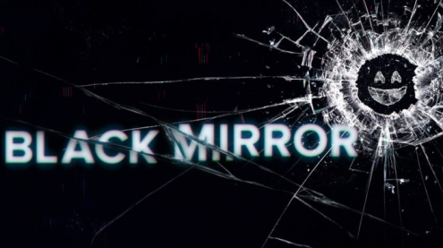 a borken mirror with the text Black Mirror in white capital letters