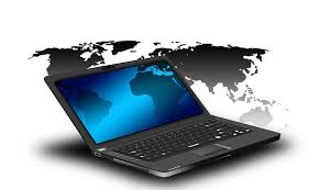 laptop with the countries of the world