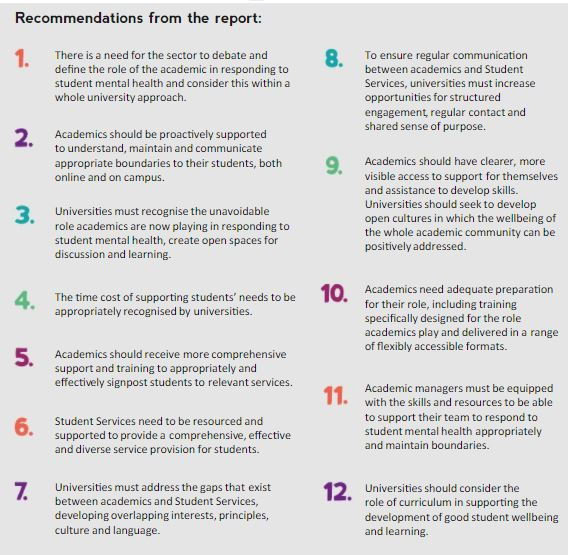 recommendations from the Role of an academic report available http://www.studentminds.org.uk/theroleofanacademic.html