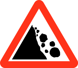 Red Triangle warnng sigh with falling rocks