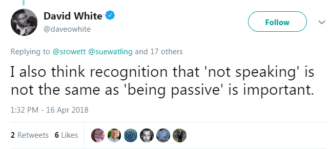 tweet from David White suggesting lurking is passive