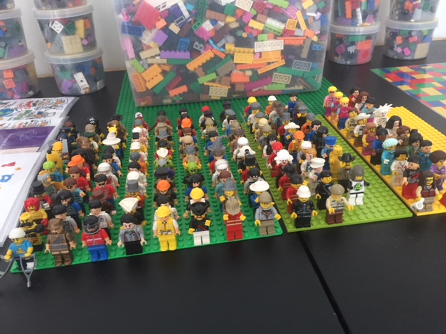lego people standing in rows